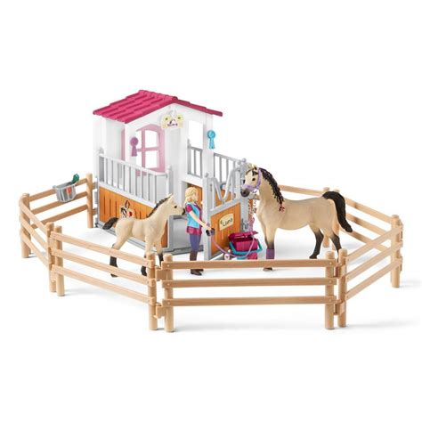 Schleich Horse Club Horse Stall with Arab Horses and Groom ...