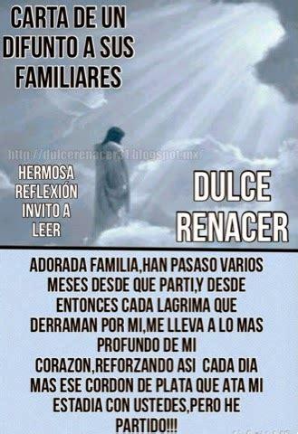 ♥Dulce Renacer♥: CARTA DE UN DIFUNTO A SU FAMILIA