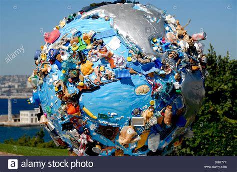 sea pollution concept, Globe sculpture, Marseille, France ...