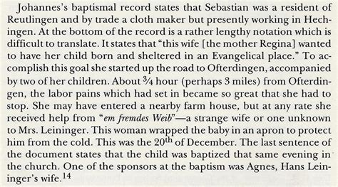 Sebastian Leininger and his Descendents