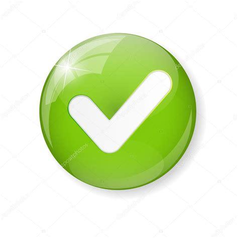 Segno di spunta verde icona pulsante — Vettoriali Stock ...