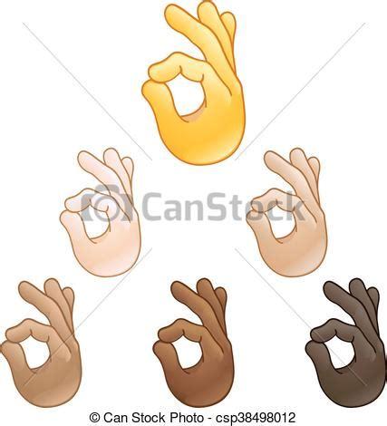 Segno, ok, mano, emoji. Set, segno giusto, vario, toni ...