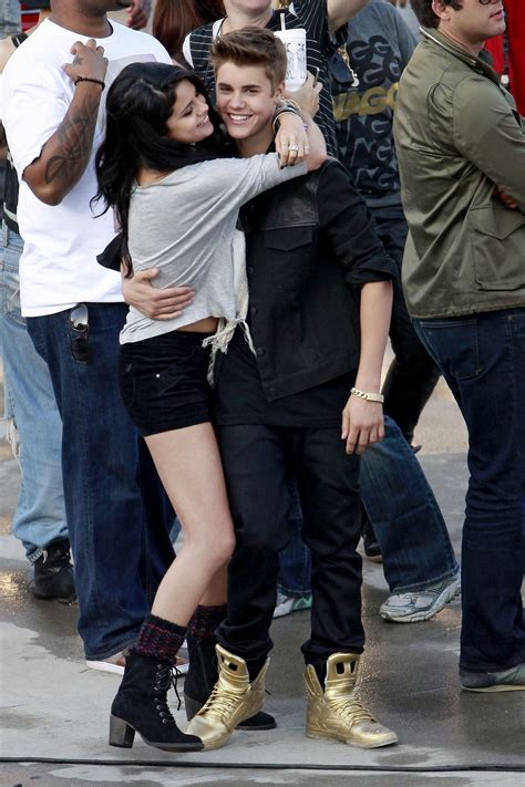 SELENA GOMEZ and Justin Bieber on the Set of Boyfriend ...