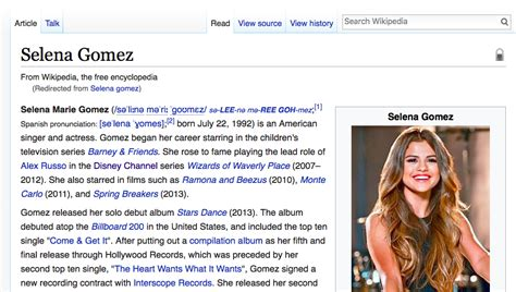 « SELENA GOMEZ FROM WIKIPEDIA » – ENTROPY