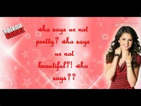 Selena Gomez~ who says lyrics   YouTube