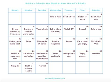 Self-Care Calendar for Busy Moms and Women - Get Mom Balanced
