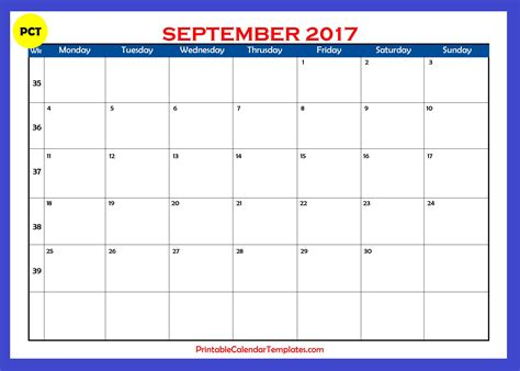 September 2017 Calendar printable   Printable Calendar ...