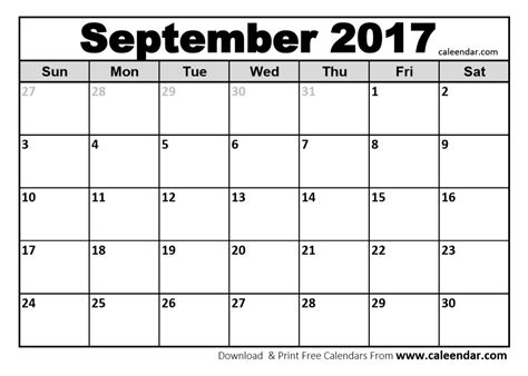 September 2017 Calendar Templates | Caleendar.Com