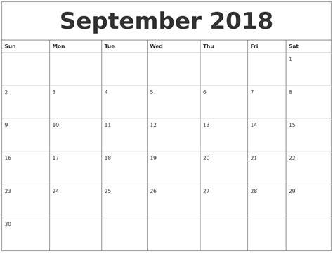 September 2018 Calendar Month