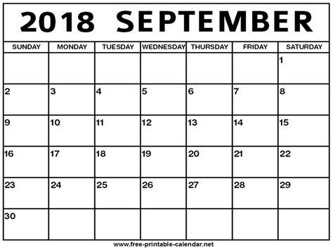 September 2018 Calendar   Print Calendar from Free ...