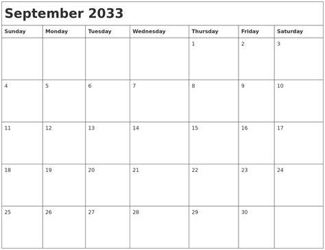 September 2033 Month Calendar