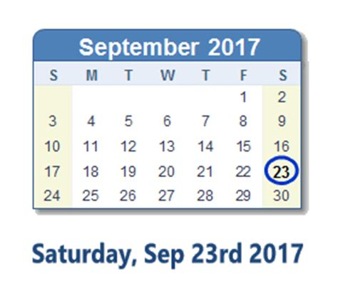 September 23 2017 Calendar with Holiday info and Count Down
