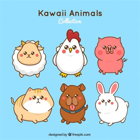 Set de animales de granja kawaii | Descargar Vectores gratis