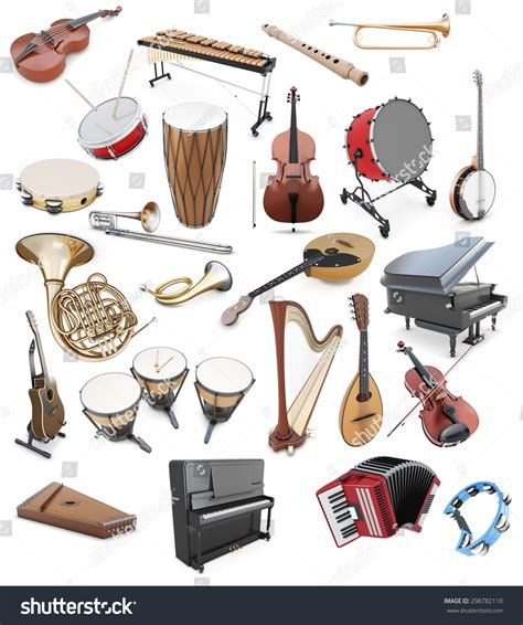 Set Musical Instruments On White Background Stock ...