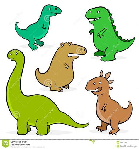 Set Of Five Cartoon Dinosaurs For Kids Stock Vector ...