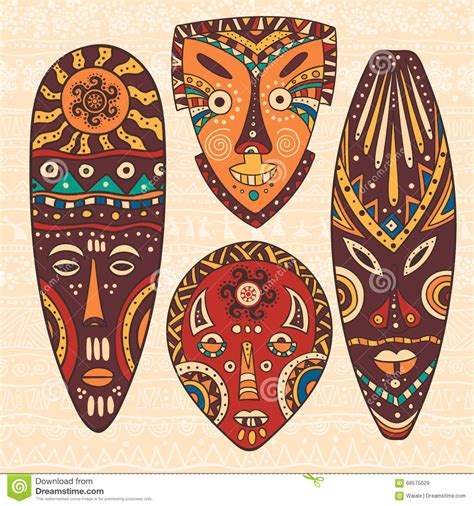 Set Of Four African Masks Stock Vector   Image: 68575029