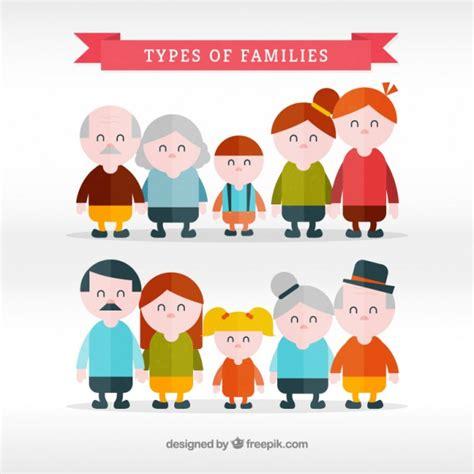 Set plano de tipos de familia   Descargar Vectores gratis