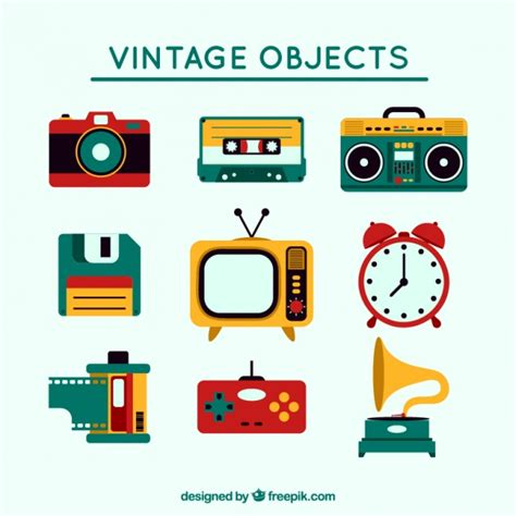 Set vintage colored objects Vector | Free Download