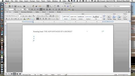 Setting Up APA 6e Headers in Word 2011 (Mac) - YouTube