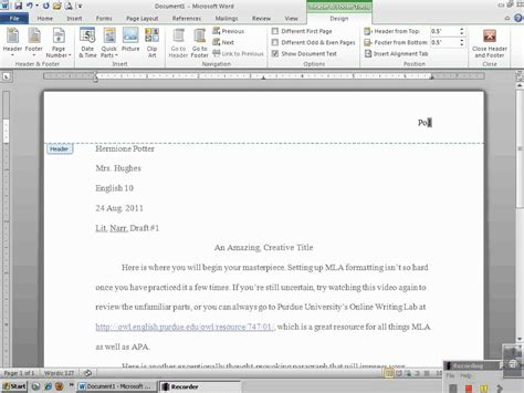 Setting Up MLA Header with Microsoft Word 2010 - YouTube