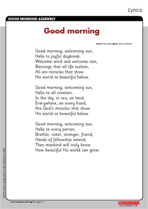 'Good morning' – song lyrics – Primary KS2 teaching ...