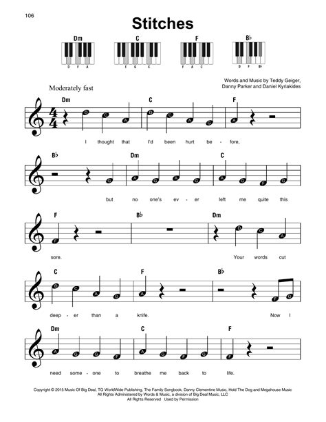 Shawn Mendes   Stitches sheet music