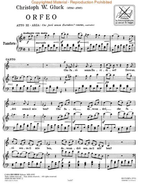 Sheet music: Christoph Willibald von Gluck: Che Faro Senza ...