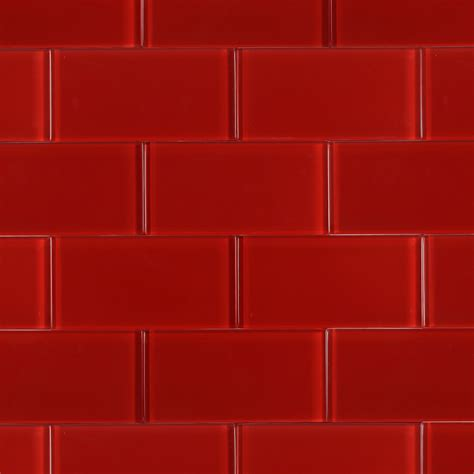 Shop For Loft Cherry Red Polished 3x6 Glass Tile at ...