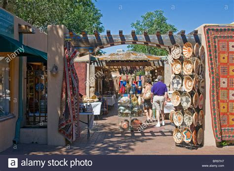 Shopping for southwestern art Santa Fe New Mexico Stock ...