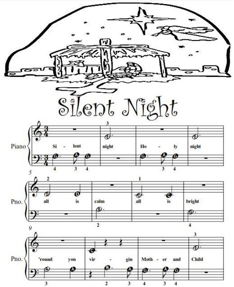 Silent Night Beginner Tots Piano Sheet Music PDF   Ad ...