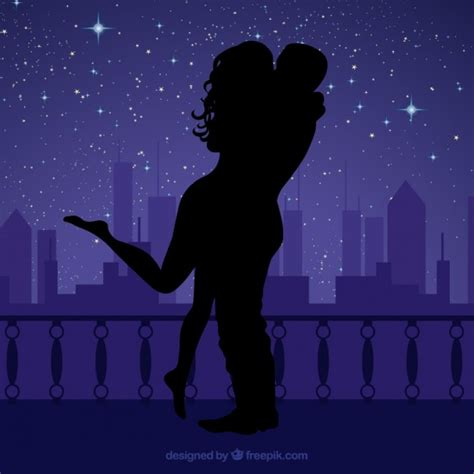 Silhouettes of night lovers Vector   Free Download
