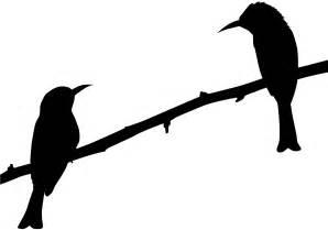 Silueta: Dos Pájaros en una Rama - Contorno y silueta vector