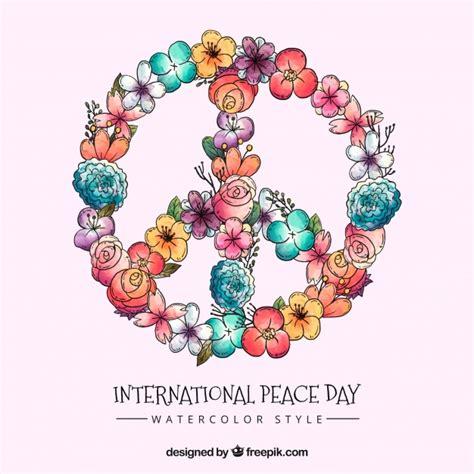 Símbolo de la paz floral en acuarela   Descargar Vectores ...