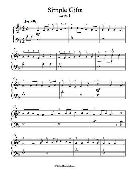 Simple Gifts Piano Sheet Music | Music | Pinterest ...