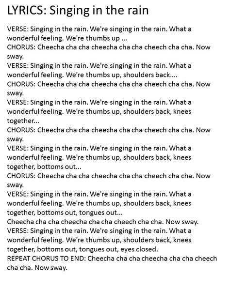 Singing In The Rain Lyrics Chords