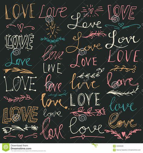 Sistema De Palabras Manuscritas Letras De Amor Texto Del ...