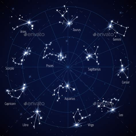 Sky Star Map with Constellations Stars by MicrovOne ...