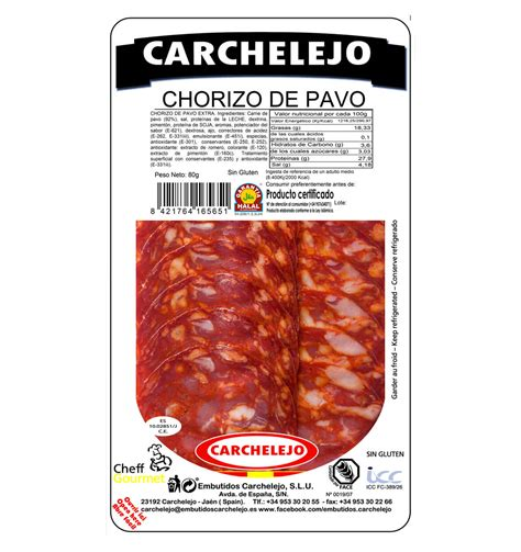 SLICED TURKEY CHORIZO SAUSAGE 80g | Embutidos Carchelejo