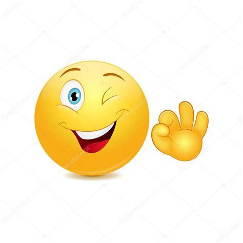 Smiley Emoticons mit ok Zeichen — Stockvektor #41744027