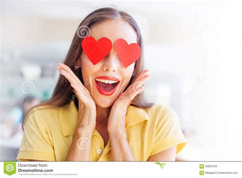 Smiling Woman With The Hearts On Her Eyes Stock Photo ...