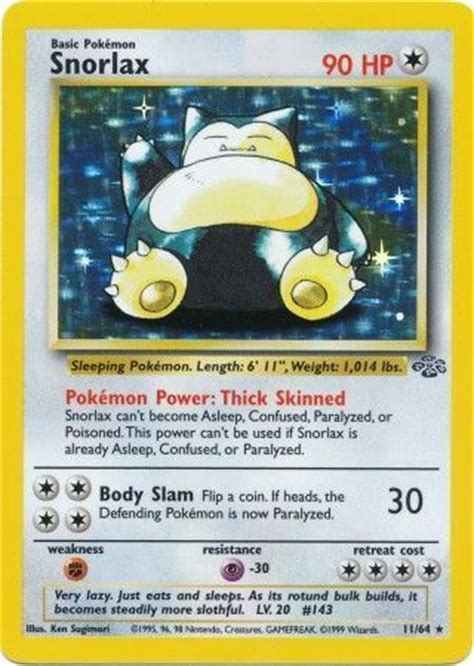 Snorlax   11/64   Holo Unlimited   Jungle Unlimited ...