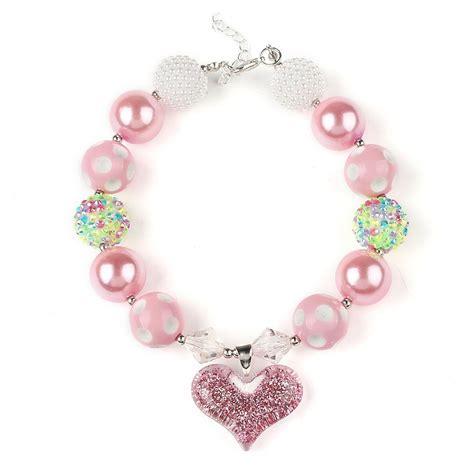 So Beautiful Girls Beaded Necklace Children Pink Short ...