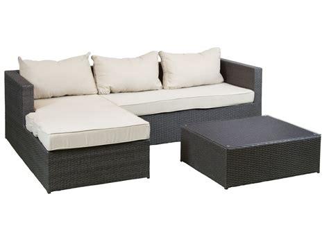 Sofa chaise longue jardín con mesa de centro ratán sintético