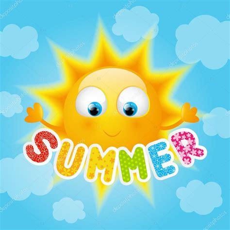 Sol de dibujos animados con mensajes de verano — Vector de ...