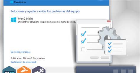 Solucionador Oficial del Menú Inicio  Windows 10 ...