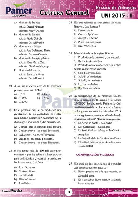 Solucionario UNI 2015 1 Pamer (letras)