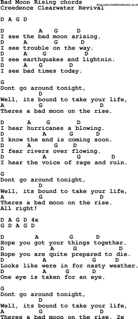 Song Lyrics with guitar chords for Bad Moon Rising | music ...