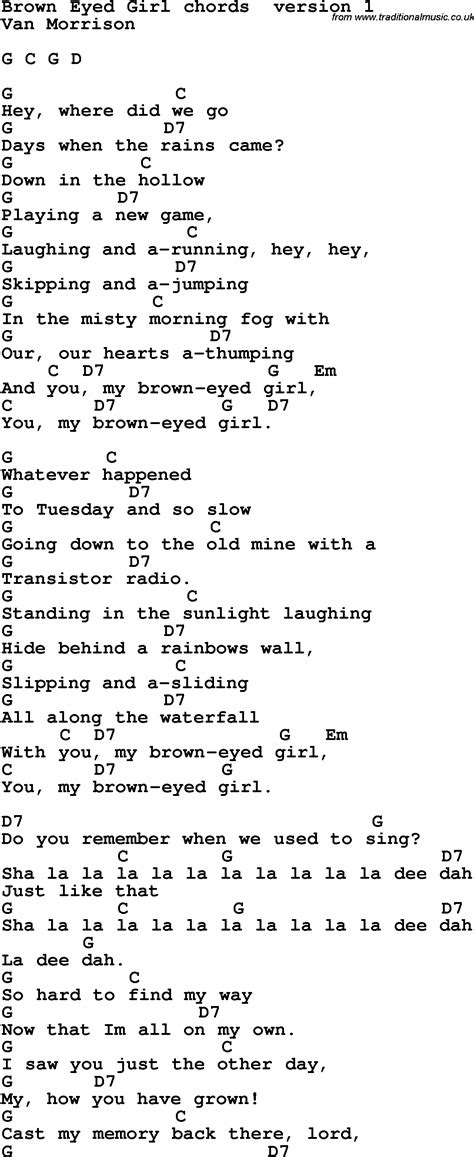 Song Lyrics with guitar chords for Brown Eyed Girl ...