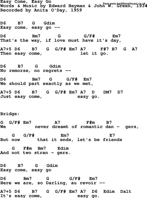 Song lyrics with guitar chords for Easy Come, Easy Go ...