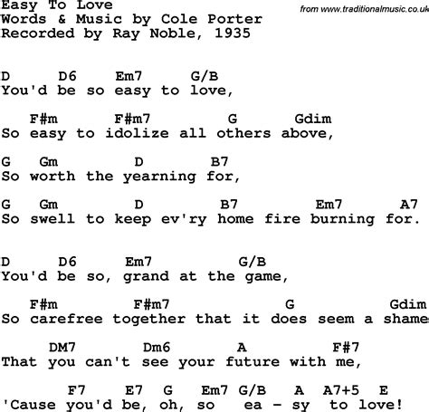 Song lyrics with guitar chords for Easy To Love - Ray ...
